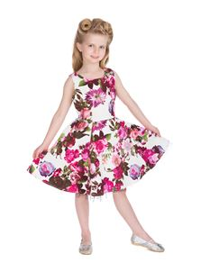 Hearts And Roses - Kids Audrey 50's Cream Floral Dress