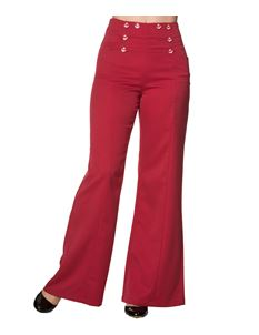Banned 40s 50s Nautical Red Stay Awhile Trousers