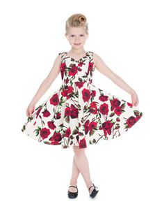 H&R London Kids 50's Rose Print Summer Dress