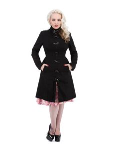 Hearts & Roses 50's Black Strait Coat