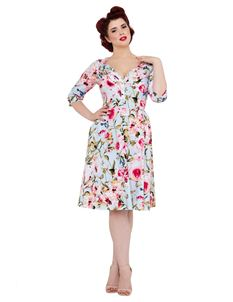 Voodoo Vixen 50s Style Rosie Floral Flared Dress