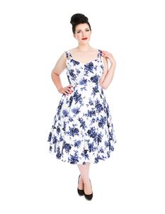 Hearts & Roses Blue Floral Swing Dress