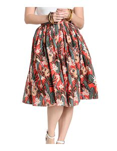 Hell Bunny Ukulele Tropical Hawaiian Orange 50s Skirt