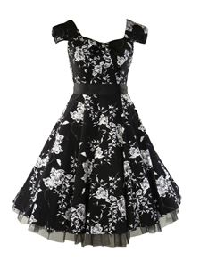 SALE UK 8 & 10 H&R London 50's Vintage Tea Black Dress Floral Bow