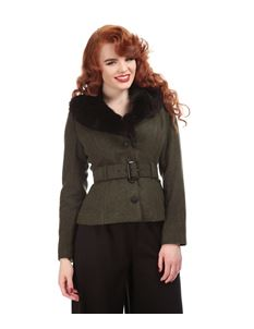 Collectif Green Wool Blend Jacket with Faux Fur Collar