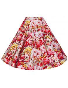 Lindy Bop Peggy Red White Floral Skirt Size UK 10