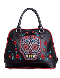 Banned 50s Black Purple Sugar Skull Handbag