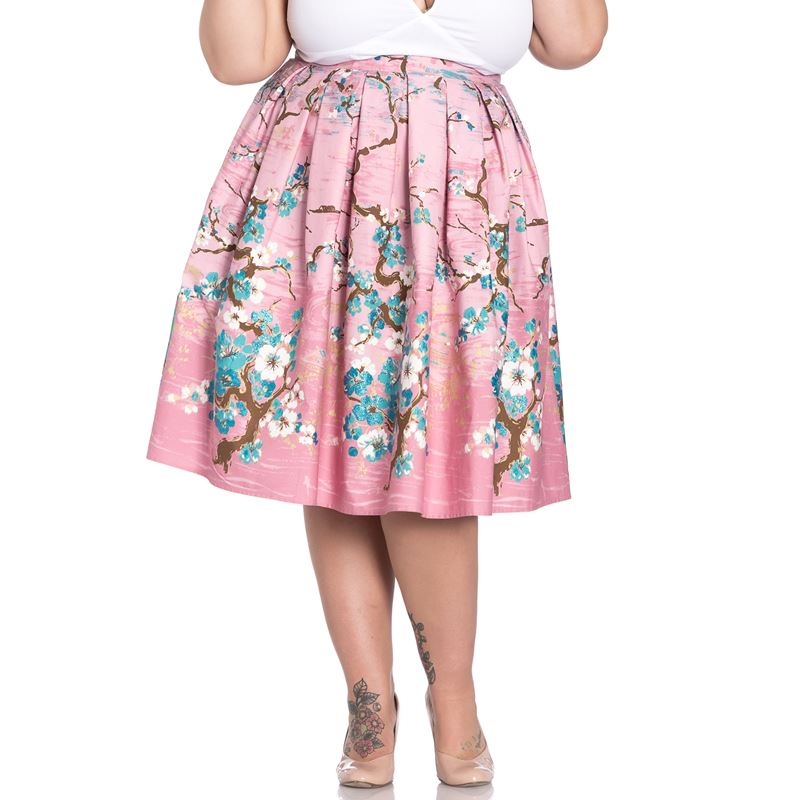 Hell Bunny Jenna Floral Glitter 50s Style Pleated Skirt