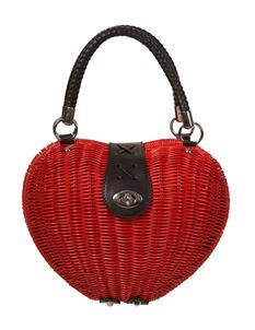 Dancing Days By Banned Red Wicker Heart Handbag