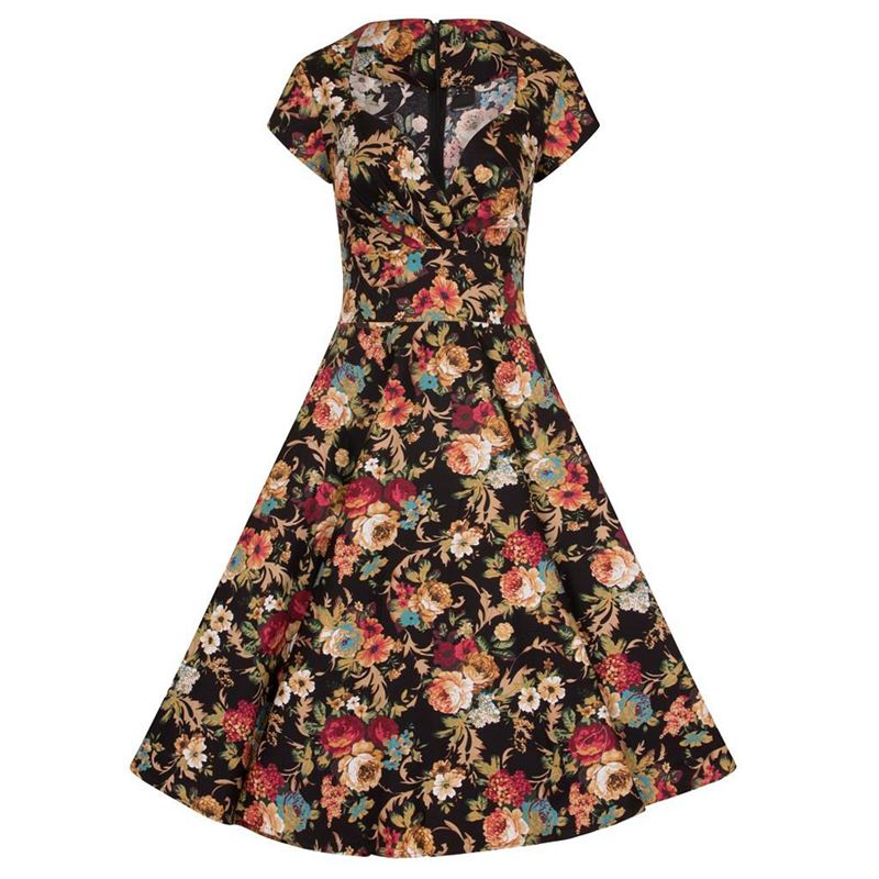 Black Mix 50's Floral Short Sleeves Retro's Swing Dress