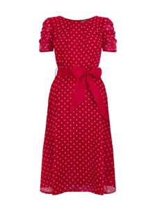 Eucalyptus 1940s Inspired Chiffon Red Dress