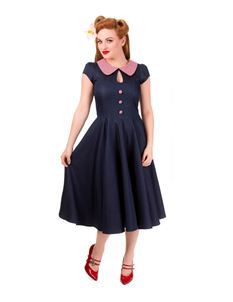 Banned Blueberry Hill 50s Style Navy Blue Denim Dress