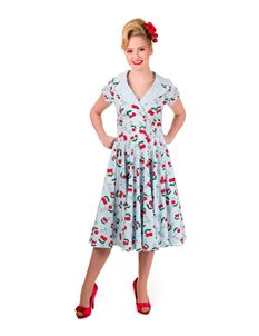 Banned 50s Style Blindside Blue Cherry Swing Dress