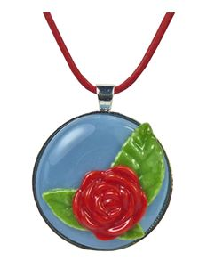 Rowanberry Designs Red & Blue Rose Glass Pendant