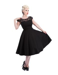Hearts & Roses 50s Black Lace Swing Dress