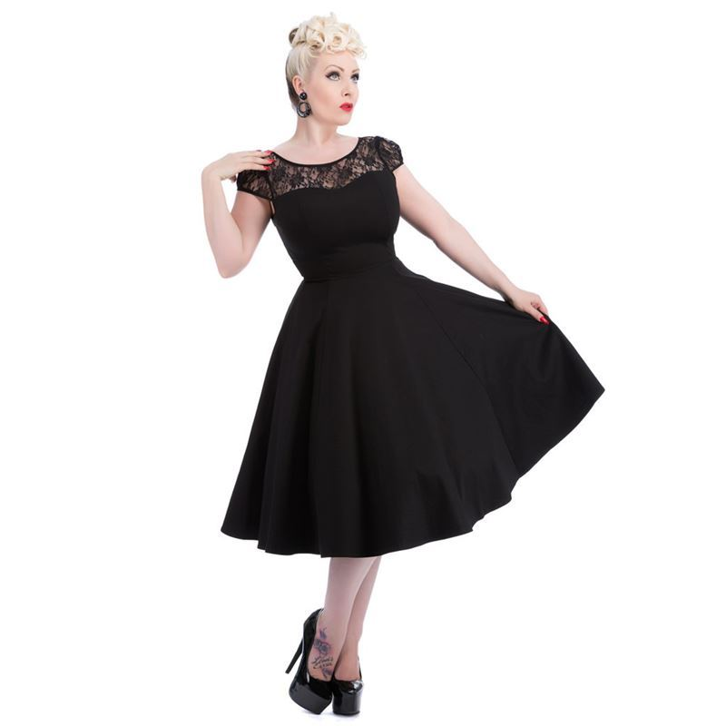 e52dace7a7a9 Hearts   Roses 50s Black Lace Swing Dress