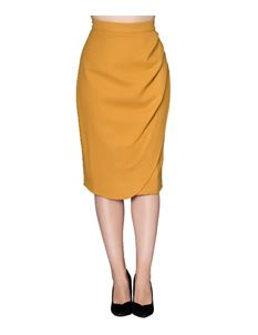 Sheen Samara Mustard Yellow Wool Wiggle Skirt