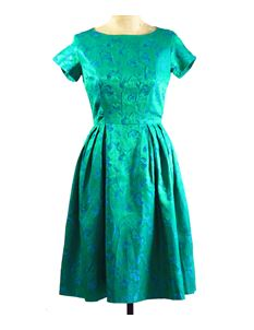 True Vintage 1950's Emerald Green Evening Dress
