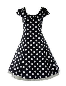 H&R London 50's Retro Collar Dress Big Polka Dot Black White