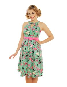 Lindy Bop Cherel Green Flamingo Print Dress Pink Belt