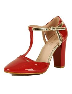Foxy Roxy Retro T Bar Patent Block Heel Shoe