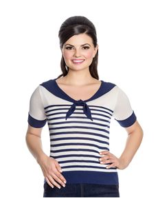 Hell Bunny 50s Coco Nautical Collar Striped Knit Top