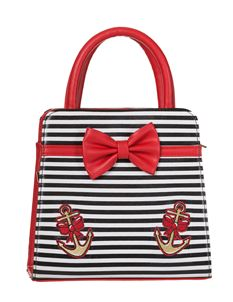 Dancing Days 50's The Vice Striped Bow Carry Shoulder Handbag