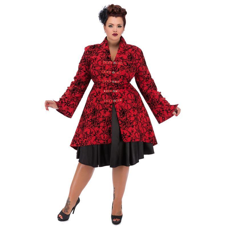Hearts & Roses Red Flock Tattoo Floral Vintage Coat