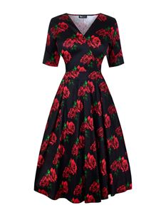 Lady Vintage Voluptuous Estella Romantic Rose Dress