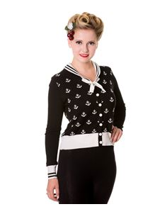 Banned 40s 50s Black Nautical Small Anchors Cardigan
