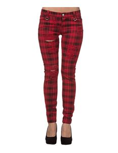 Banned Alternative Ripped Check Skinny Trousers