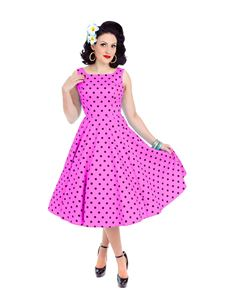 Hearts & Roses 50's  Rhiannon Swing Dress In Raspberry