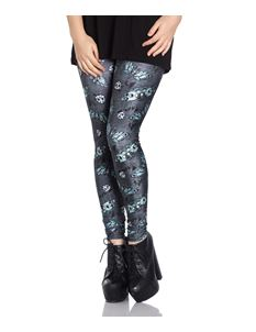 Hell Bunny Deaths Head Skull Alternative Grey Leggings