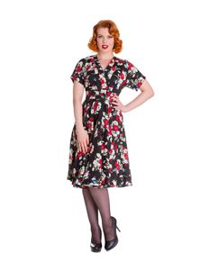 Hell Bunny Heather Floral Rose Tea Dress Black