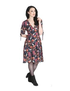Hell Bunny Heron Vintage Style Floral Tea Dress