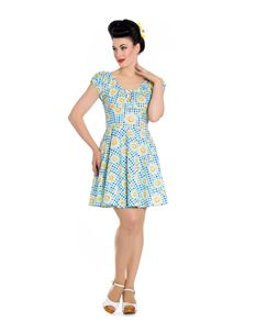 Hell Bunny Sunshine Daisy Gingham Mini Summer Dress