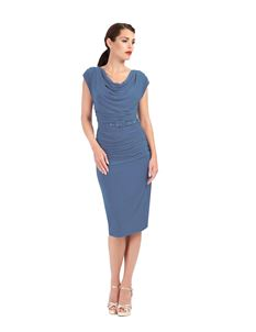 Zoe Vine Dove Grey Ruched Pencil Dress