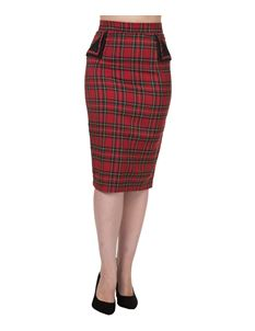 Red Tartan Wiggle Pencil Skirt By Banned