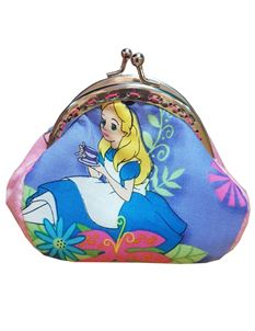 Hand Made Alice In Wonderland Kiss Lock Coin Purse