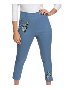 Lindy Bop Patricia Pale Blue Embroidered Trousers