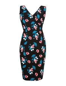 Joanie Clothing Stella Wrap Floral Black Pencil Dress