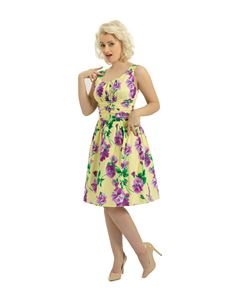 Voodoo Vixen 50's Floral Summer Dress Yellow