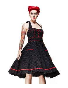 Hell Bunny 50's Vanity Polka Dot Dress Black