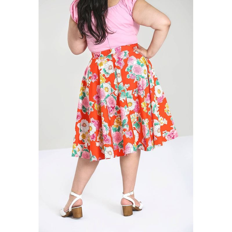 Hell Bunny Marguerita Floral 50s Style Orange Skirt