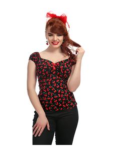 Collectif Dolores Black Gypsy Small Cherries Print Top