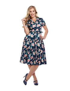 Collectif Caterina 40s Navy Pretty Floral Swing Dress