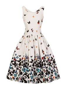 Lady Vintage Dirdle White Butterfly 1950s Style Dress