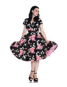 Hell Bunny Collarette Floral Polka Dot 50s Style Dress
