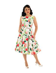 Hearts & Roses Edina Rose Swing Floral 50s Dress