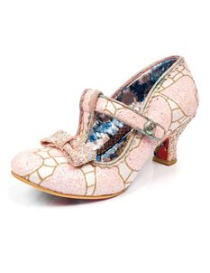 Irregular Choice Lazy River Pink Gold Glitter Low Heels